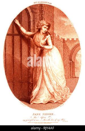 """SARAH SIDDONS (1755-1831) Welsh tragische Schauspielerin in 1714 in der Titelrolle von """"Die Tragödie von Jane Shore' von Nicholas Rowe Stockbild"""