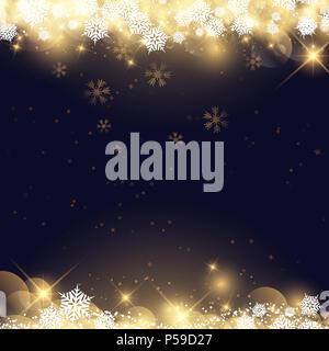 Weihnachten Hintergrund mit Schneeflocken und Sternen-design Stockbild
