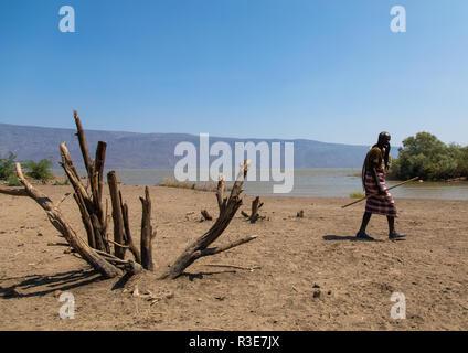 Afambo See, ferne Region, Afambo, Äthiopien Stockbild