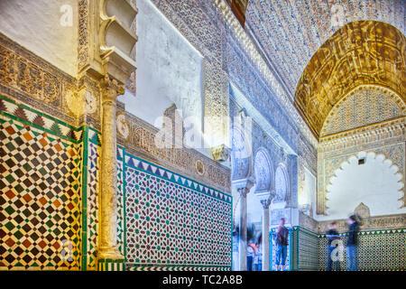 Innere Sala de Los Pasos Perdidos, Posada de Palacio Real, Real Alcazar, Sevilla, Spanien. Stockbild