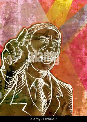 Ein Mann zeigte mit dem finger Stockbild