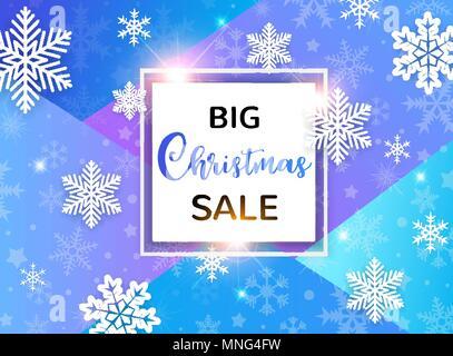 Design für saisonale Weihnachten Verkauf. Weiße Schneeflocken auf einem blauen abstrakten geometrischen Hintergrund. Stockbild