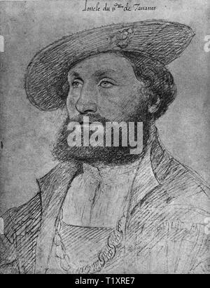 Bildende Kunst, Jean Clouet (1480-1541), Zeichnung, 'L'Oncle du Seigneur de Tavanes' (der Onkel von Seigneur de Tavannes), Porträt, 1528, Additional-Rights - Clearance-Info - Not-Available Stockbild