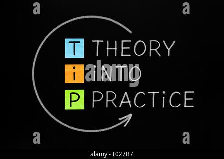 Die Umsetzung in der Praxis Tipp Akronym Pfeil Konzept handschriftlich mit weißer Kreide auf Tafel. Stockbild
