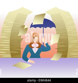 Weibliche Büroangestellte arbeiten spät im Büro Stockbild