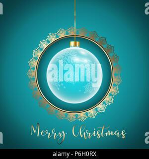 Dekorative Weihnachten Hintergrund mit goldenen Rahmen Stockbild