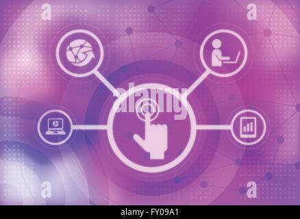 Beispiele für menschliche Hand drücken auf Touch-screen Stockbild