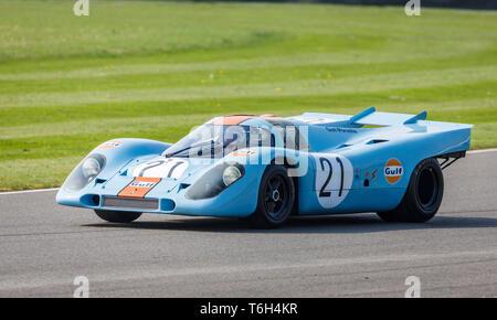 1970 Porsche 917 K Gruppe 5 Racer auf der Demonstration am 77. Goodwood GRRC Mitgliederversammlung, Sussex, UK. Stockbild