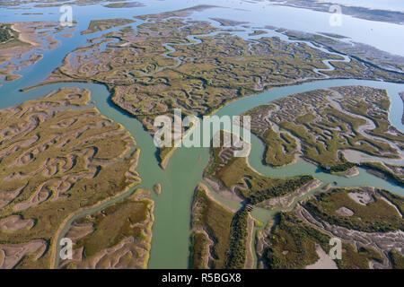 Luftaufnahme von Marschland, Provinz Huelva, Spanien Stockbild