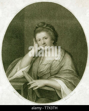 FRANCES BROOKE (1724-1789) englischer Schriftsteller, Dramatiker und Übersetzer. Gravur auf der Basis ein Portrait über 1770. Stockbild