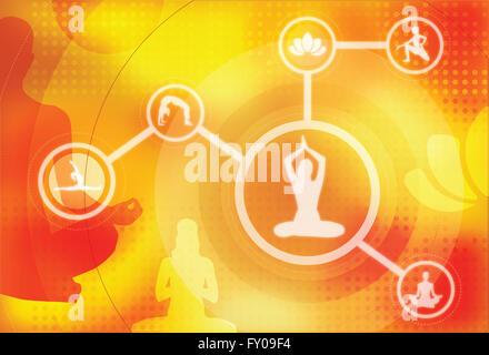 Beispiele für mehrere Bild der verschiedenen Yoga-Posen Stockbild