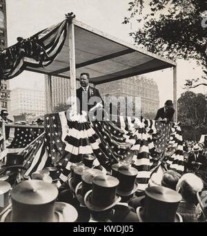 Theodore Roosevelt im Schlitten mit Bürgermeister Gaynor und Alfred Gwynne Vanderbilt, 18. Juni 1910. Die lange Stockbild