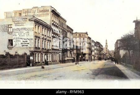 Geschichte von Leszno 1903, Woiwodschaft Großpolen, Lissa, Kaiser Wilhelm, Straße Stockbild
