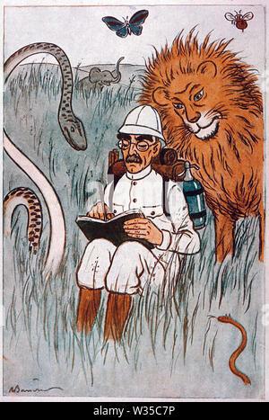 RUDYARD Kipling (1865-1936) englischer Schriftsteller in einem Cartoon 1929 Stockbild