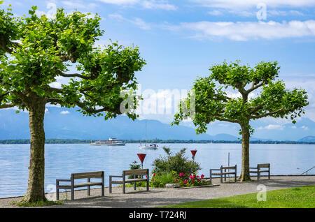 Blick über den Bodensee in Richtung Österreich aus Lindau im Bodensee, Bayern, Deutschland, Europa. Stockbild