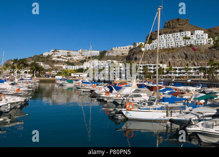 Spanien - Kanarische Inseln - Gran Canaria - Puerto Rico - Blick auf die Marina Stockbild