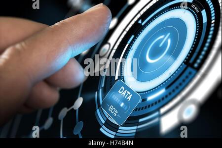 Finger drücken ein Fututistic GUI auf einem Computer-Dashboard. Modernes Interface-Design mit blauen Farbtönen. Stockbild