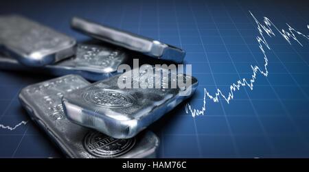 3D Illustration Silber Barren über einen blauen Hintergrund mit wachsender Diagramm. Rohstoffe Anlagekonzept, Stockbild