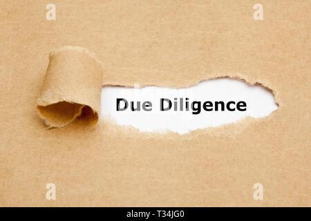 Text Due Diligence hinter zerrissenes Papier erscheint. Konzept für die Forschung getan, bevor Sie eine Vereinbarung oder ein Vertrag als Teil der Stockbild