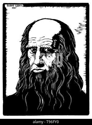 Leonardo di ser Piero da Vinci (April 15, 1452 - Mai 2, 1519) war ein italienischer Renaissance Universalgelehrten: Maler, Bildhauer, Architekt, Musiker, Mathematiker, Ingenieur, Erfinder, Anatom, Geologe, Kartograph, Botaniker und Schriftsteller. Sein Genius, vielleicht mehr als jede andere Figur, verkörpert der Renaissance humanistisches Ideal, die häufig als Archetyp der Renaissance Mensch beschrieben worden Die Vervielfältigung von holzschnitt von Egidio Lenci, 1928. Stockbild