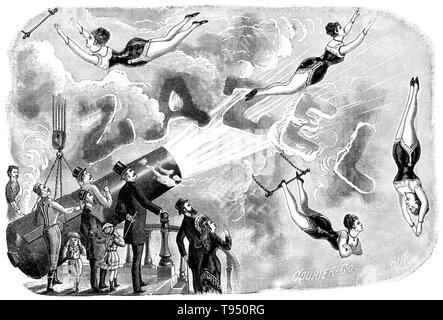 """Rossa Matilda Richter (1863 - 1937), alias Zazel, war ein englischer trapeze Artist. 1871, William Leonard Jagd einen Mechanismus er ein """"Projektor genannt entwickelt."""" Aus schweren Federn und indischen Gummi, es schoß eine Person weiterleiten, die schießpulver-basierte Explosion nur für Effekt. Erster Auftritt von Richter der Stunt war am 10. April 1877, an der Königlichen Aquarium in London. Sie reiste 20 Fuß und im Netz landete. Stockbild"""