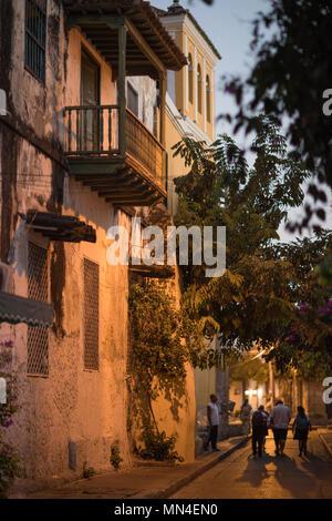 Die Straßen von Getsemani in der Morgendämmerung, Cartagena, Kolumbien Stockbild