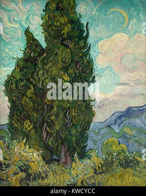 Zypressen, von Vincent Van Gogh, 1889, Dutch Post-Impressionist, Öl auf Leinwand. Van Gogh beschrieb die Zypressen Stockbild