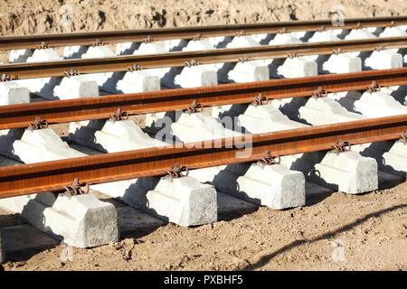 Neu verlegten Straßenbahnschienen, Deutschland, Europa ich neu verlegte Straßenbahnschienen, Deutschland, Europa I Stockbild