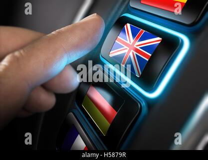 Finger über eine englische Übersetzung zu drücken Taste auf einem konzeptionellen Sprache Dashboard. Stockbild