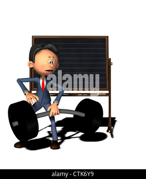 Cartoon-Figur Physiklehrer mit Masse Stockbild