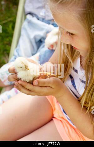 Mädchen halten junges Huhn Stockbild