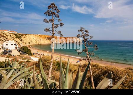 Portugal Algarve Atlantikc Küste Strand Praia de Mareta | Sagres Portugal Atlantik Tarifbezirk Kueste Badestrand, Stockbild