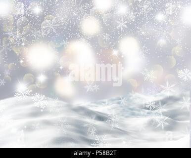 Weihnachten Hintergrund mit schneebedeckten Landschaft, Schneeflocken und Bokeh leuchtet Stockbild