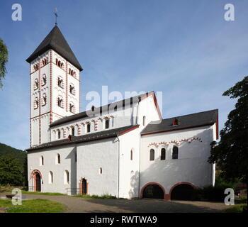 St. Johannis-Kirche, Unesco Weltkulturerbe Oberes Mittelrheintal, Lahnstein, Rheinland-Pfalz, Deutschland Stockbild