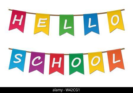 Bunte Fahnen mit der Aufschrift Hallo Schule an einem Seil aufgehängt. Stockbild