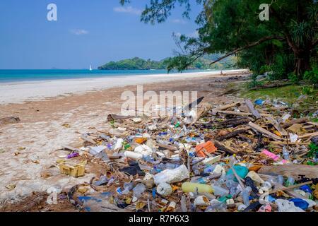 Thailand Songkhla Provinz, Tarutao National Marine Park, Ko Tarutao Insel, Müll aus dem Meer während des Monsuns auf Ao Pante Malacca Strand Stockbild