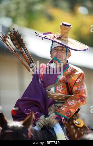 Montiert Yabusame Archer, Jidai Festival, Kyoto, Japan, Asien Stockbild