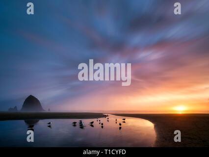 Cannon Beach bei Sonnenuntergang mit Haystack Rock, Bach und Paar mit Hund. Oregon Stockbild