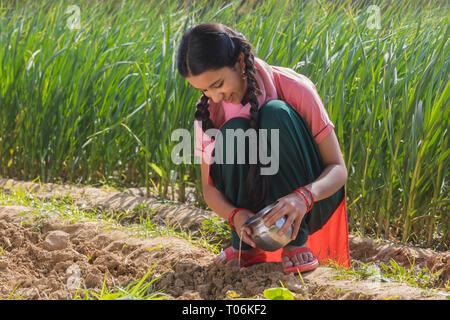 Gerne kleine Mädchen gießt Wasser auf den Boden in der Landwirtschaft. Stockbild