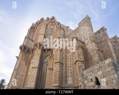 Lala Mustafa Pascha Moschee, ursprünglich genannt Kathedrale des Heiligen Nikolaus in Famagusta Zypern, ein eindrucksvolles Gebäude aus dem Mittelalter Stockbild