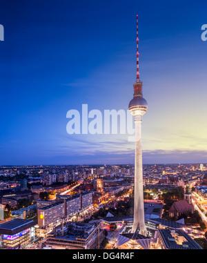 Berlin, Deutschland-Blick auf den Fernsehturm. Stockbild