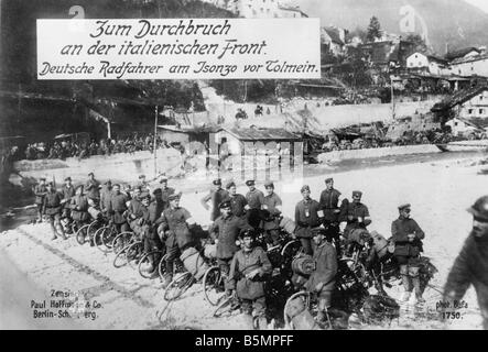 9 1915 0 0 A3 2 E Isonzo Schlachten Ger Truppen bei Tolmein 1. Weltkrieg italienischen Front Isonzo Schlachten 1915 Stockbild