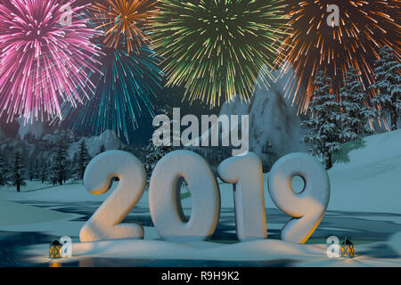 Das Jahr 2019 modelliert im Schnee mit Feuerwerk in der Berglandschaft. Eine 3D-Render. Stockbild