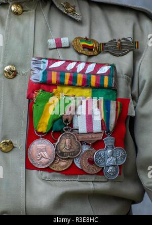 Veteran Medaillen aus der Italo-äthiopischen Krieg, Addis Abeba region, Addis Abeba, Äthiopien Stockbild