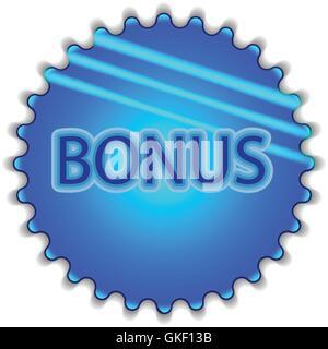 """Große blaue Schaltfläche mit der Bezeichnung """"Bonus"""" Stockbild"""