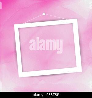 Leeren Bilderrahmen hängen an ein rosafarbenes Aquarell Hintergrund Stockbild
