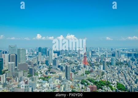 Stadtbild gesehen von der Roppongi Hills Mori Tower, Tokyo, Japan. Stockbild