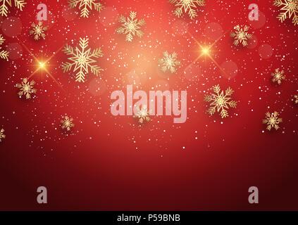 Weihnachten Hintergrund mit goldenen Schneeflocken Stockbild