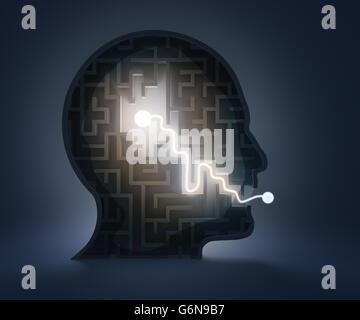 Labyrinth in einem Kopf - vom Gehirn zur Rede Stockbild