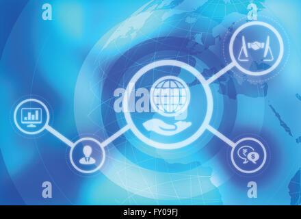 Anschauliches Bild die Globalisierung der Geschäftswelt Stockbild